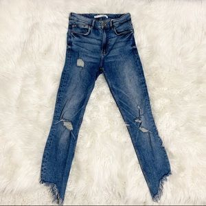Zara medium wash distressed high waisted jeans